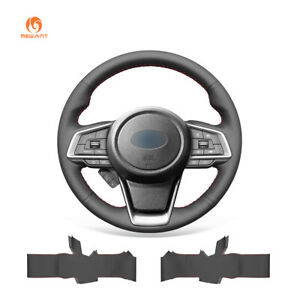 Black-Artificial-Leather-Steering-Wheel-Cover-for-Subaru-Forester-Ascent-Outback