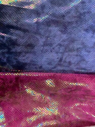 Dragon Scales Design Iridedescent Clear Foil On Heavy Stretch Velvet 4way 58//60""