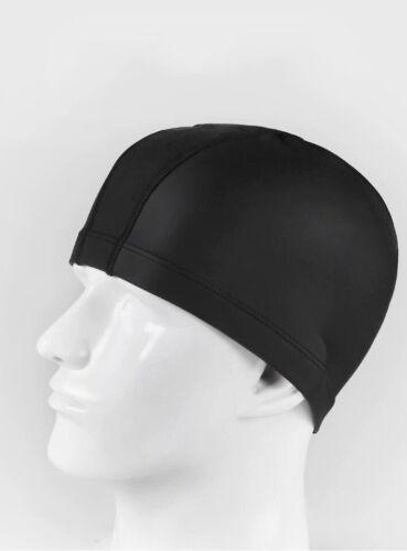 Unisex Adult Kids Stretch Black Cap Spandex Fabric Material Swimming Hat New