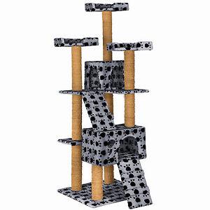 Rascador para gatos Árbol arañar juguetes 169 cm de altura gris patas