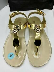 ORIGINAL-MICHAEL-KORS-Jelly-Strap-Sandals-Pale-Gold-Size-6