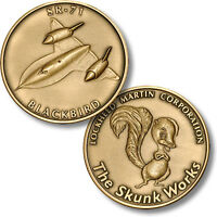 Lockheed Martin Skunk Works Sr-71 Blackbird Bronze Challenge Coin. 32011