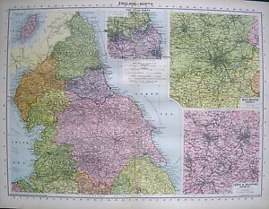 1934 LARGE MAP ENGLAND NORTH insets THE TYNE PORTS LEEDS