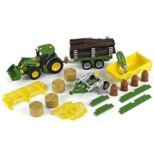 Klein John Deere Traktor mit 5 Anhänger und Pflug Bau- und Konstruktionss<wbr/>pielz