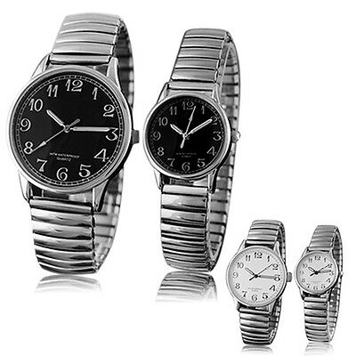 Mens Women New Perfect Couple Design Alloy Quartz Analog Stretchable Wrist Watch