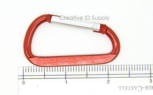 """2.25/"""" RED ALUMINUM LOT 25 HIGH QUALITY CARABINER SPRING BELT CLIP KEY CHAIN"""