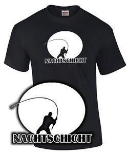 Fun T Shirt Angeln Nachtschicht Spruch Angler Angelsport Fischen