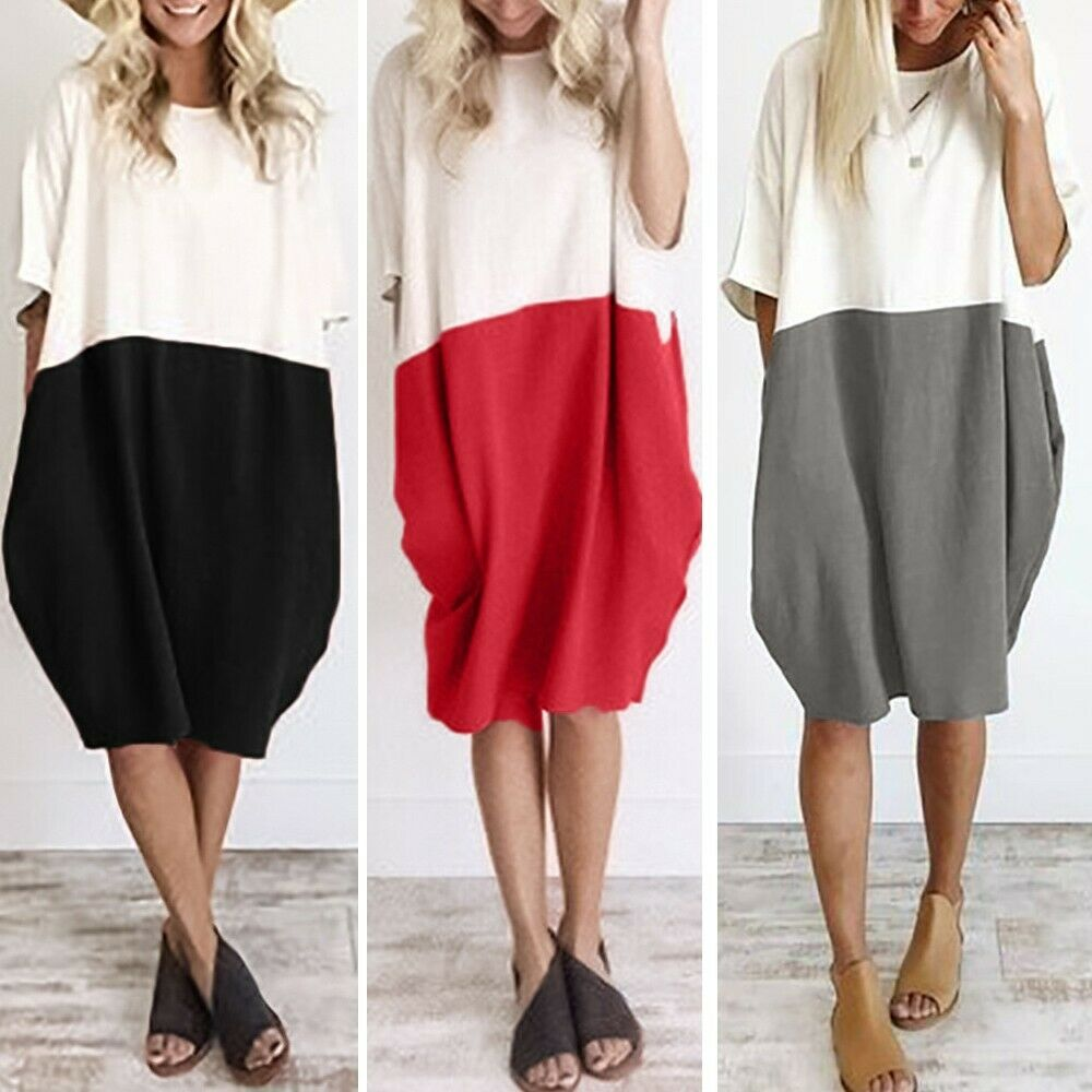 Women Casual Loose Cotton Linen Half Sleeve  Button Pocket Summer Shirt Dress UK