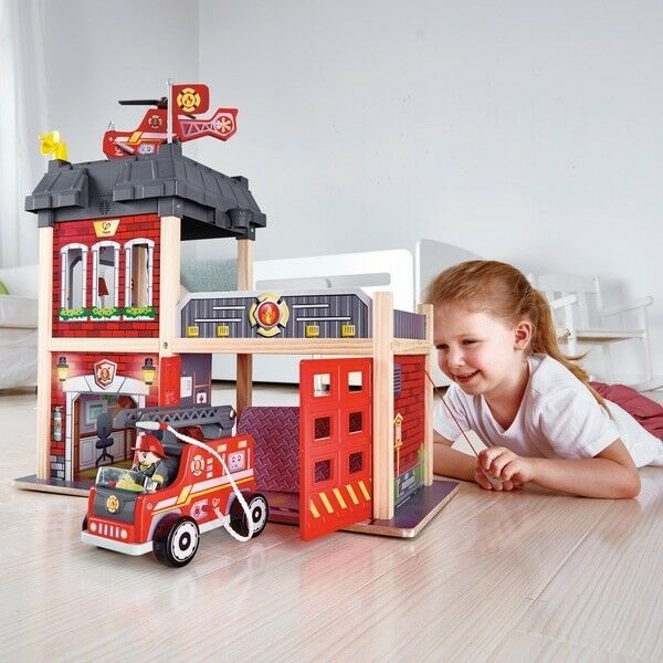 E3007 HAPE Fire Station Wooden Set [Playscapes] Toddler Children Age 3yrs+ 8 pcs
