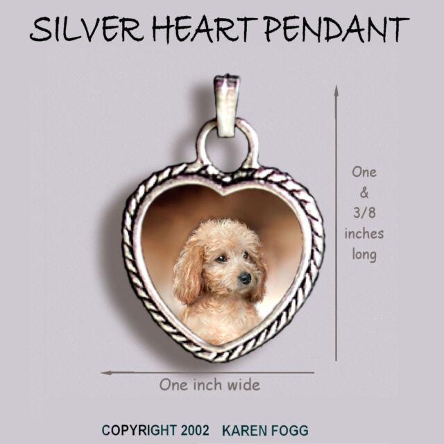 POODLE DOG Mini Black Ornate HEART PENDANT Tibetan Silver