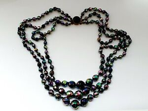 "Vintage 19.5"" Sparkly Aurora Borealis Triple Strand Faceted Glass Necklace"