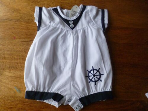 BNWT NAUTICAL TRADITIONAL STYLE ROMPER NAVY OR BLUE TRIM 0//3,3//6,6//9 MONTHS