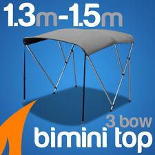 3 Bow 1.3m-1.5m Grey Boat Bimini Top Canopy Cover w/ Rear Poles & Sock