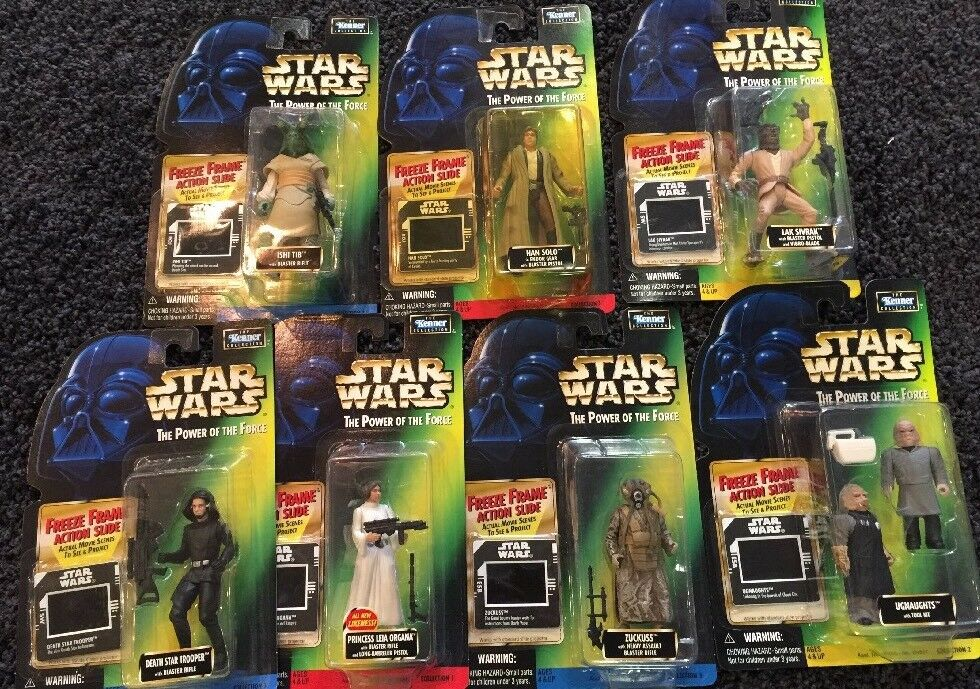 7x  Sealed Kenner Star Wars Freeze Frame Leia Han Etc All New On Card