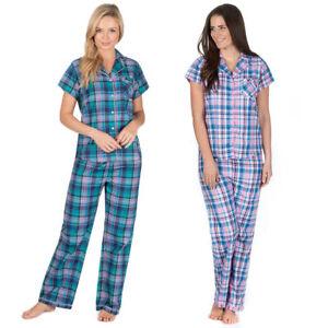 2-PC-Ladies-Womens-Pyjama-Set-Short-Sleeve-Top-Long-Bottoms-Checked-SleepSuit-PJ