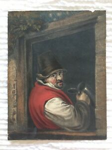 Antique-Colored-Etching-Titled-034-A-Toper-034-Dutchman-Drinking-Ale-Wine-Rustic-Frame