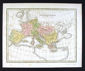 Map Of Spain And Greece.1835 Bradford Map Southern Europe Spain Italy Greece Austria