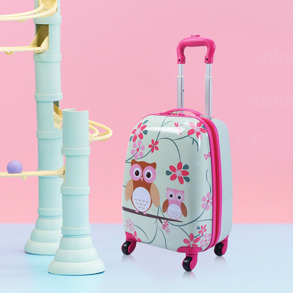Enfants Hibou Sac à Dos Bagages Valise Trolley Set enfants Travel Case Fun Sac