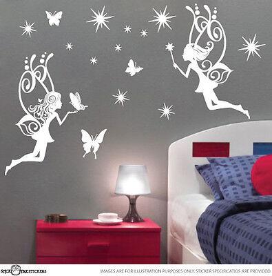 Large Fairy 2x Butterflies Stars Vinyl Sticker Wall Art Decal