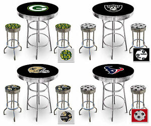 Fc507 nfl themed chrome metal black bar pub table set w 2 swivel image is loading fc507 nfl themed chrome metal black bar pub watchthetrailerfo