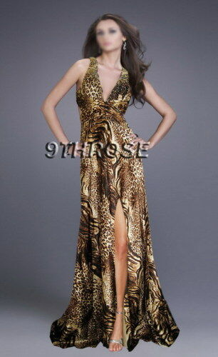 REAL STUNNER BEADED FORMAL//EVENING//PROM WITH SPLIT; LEOPARD PRINTS AU 12//US 10
