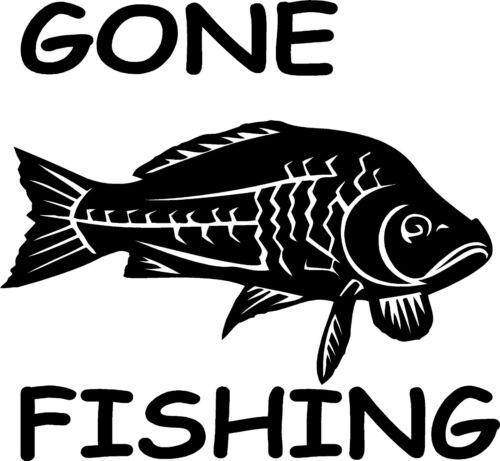 8/'/' Gone fishing carp sticker car// van decal graphic window //body panel