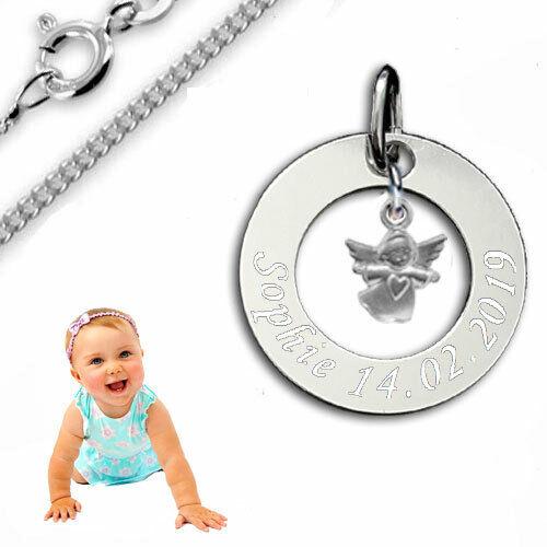 Taufkette, Kinderkette, Gravur Platte mit Schutzengel Herz,Silber 925- Gravur