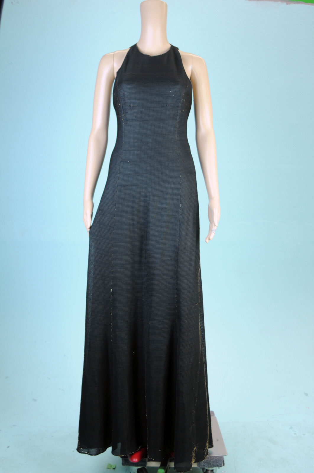 VTG 80s Evening Black Gold Shiny Shimmery Open Back Long Party Gown ...