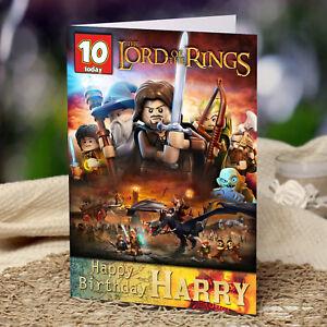 EXTRA LARGE Le seigneur des anneaux lego ** Personnalisé A4 Carte d/'anniversaire ** LOTR