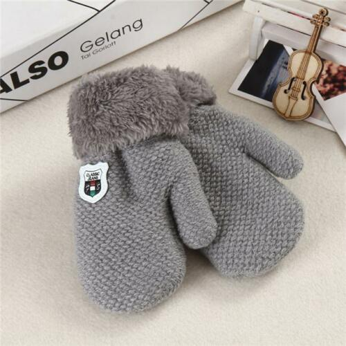 1Pair Winter Warm Newborn Baby Kids Thick Fur Gloves Mittens With Neck String DB