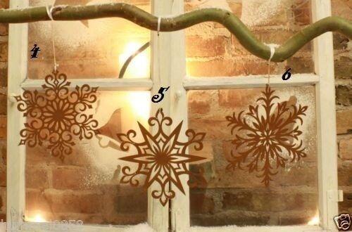 Edelrost Flocke Dekoration Weihnachten Advent Türkranz Aufhänger Tischdeko Stern