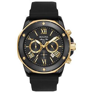 Bulova Marine Star Men's 98B278 Quartz Gold-Tone Accents Black 44mm Watch