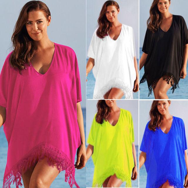 Plus Size Womens Swimwear Beach Wear Bikini Cover Up Kaftan Summer Mini Dress
