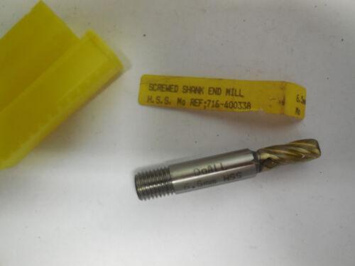 new DOALL 6.5mm metric HSS threaded screwed shank end mill endmill 4 Flutes USA