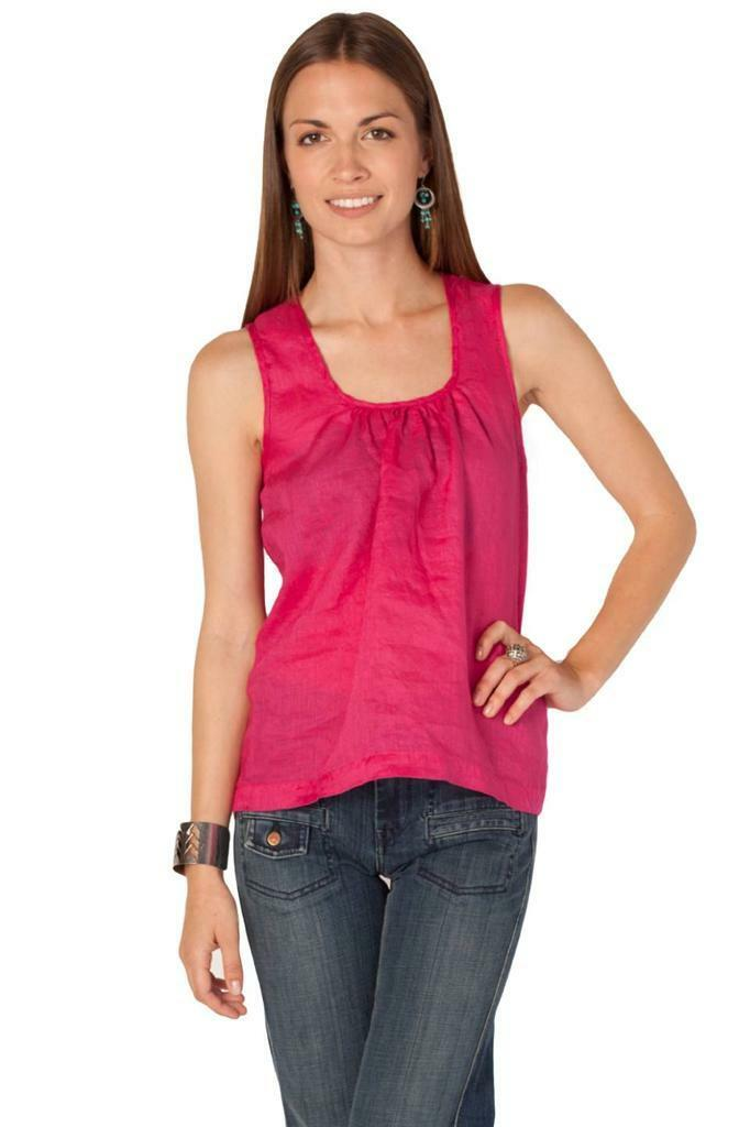 CP Shades Luz Backless Tank Fuchsia Sleeveless Top Shirt Linen Tie Rosa Handmade