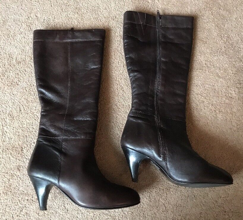 La Chateau Brown Real Leather Knee High Boots Size 6