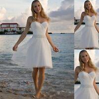 Beach Short Wedding Dress White Tea Length Bridesmaid Dresses Bridal Gown