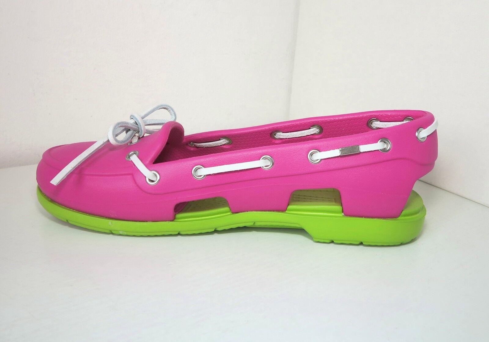 Casual salvaje Descuento por tiempo limitado Crocs Ballerina Segelschuhe pink W 10 41 42  beach line boat shoe fuchsia grün