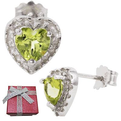 5mm Heart Peridot .925 Sterling Silver Stud Earrings