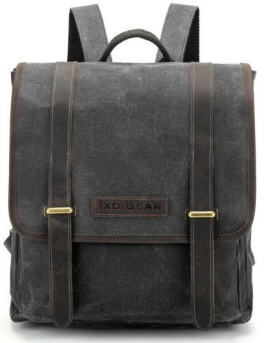 Waxed Canvas and Leather Vintage Backpack College Schlool Casual Unisex Daypack