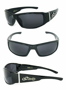 Choppers Mens Motorcycle Riding Glasses Sunglasses Shiny Black Smoke Mirror Lens