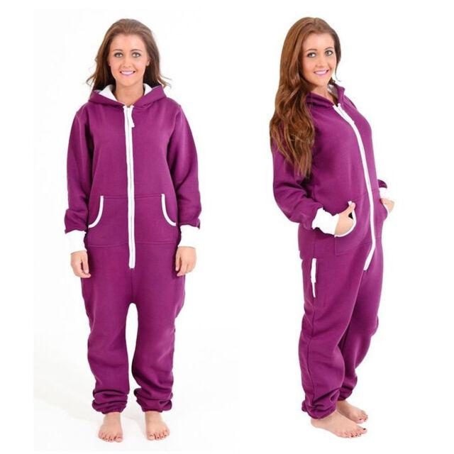 576d85b11147 Adult Womens Onesie Non Footed Jumpsuit ZIPPER Hoodie Playsuit ...