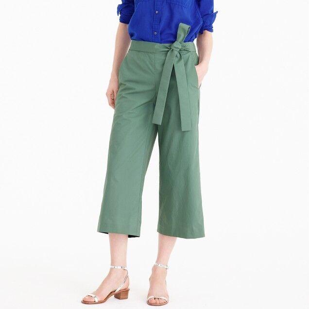 NWT J CREW Fern Green Tie Waist RORY PANTS Sz 12 F1589 Cropped Wide Leg
