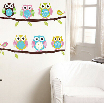 DIY removable Owl Birds Branch Vinyl Kids Mural Home Decor Wall Stickers Decal H