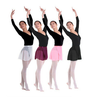 4 Color Chiffon Ballet Skirt Dance Skate Wrap over Scarf Dress Adult Women
