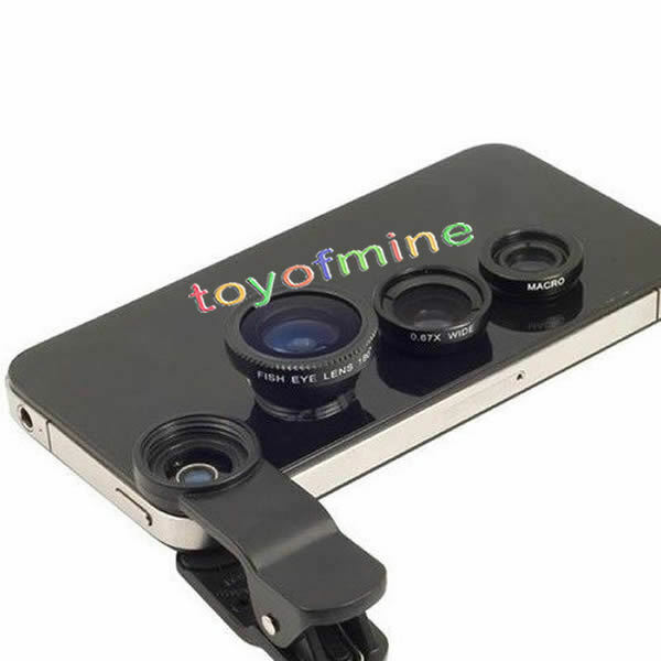 Universal Clip 3in1 Fish eye Macro Wide Angle Lens for All phones iPhone 5S SE5C
