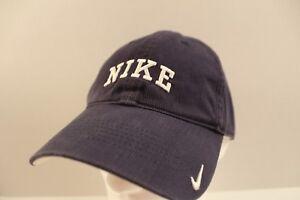 f46488b5483 Image is loading Vintage-NIKE-Spellout-Logo-Strapback-Hat-Cap-Navy-