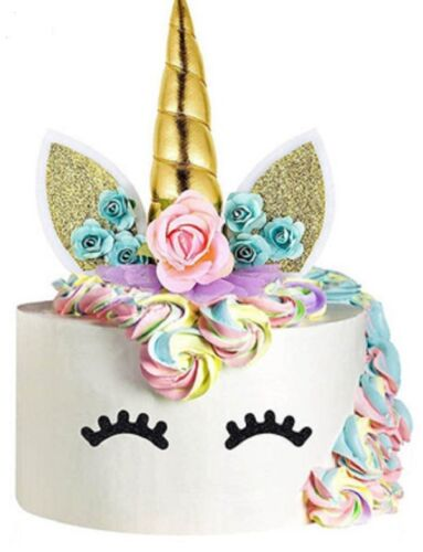 "Unicorn Cake Topper Set 5-1//2/"" Tall X 4/"" Wide Gold USA Seller"
