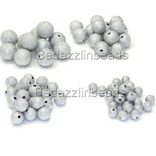 10 Red Acrylic Beads Textured with Silver Tone Glitter Flecks Painted BD222 NEW6
