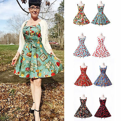 New Vintage Women's Floral Sleeveless 50s 60s Swing A-Line Pinup Dress PLUS SIZE